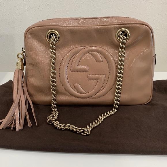 Gucci Handbags - Gucci Soho Double Chain Patent Leather Bag
